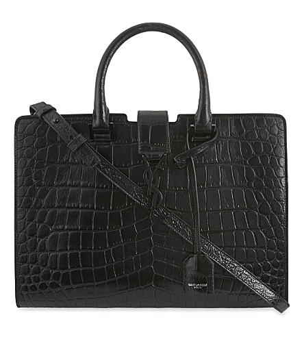 SAINT LAURENT Monogram small Cabas crocodile-effect leather tote (Black