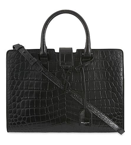 SAINT LAURENT Monogram small Cabas crocodile-effect leather tote (Black