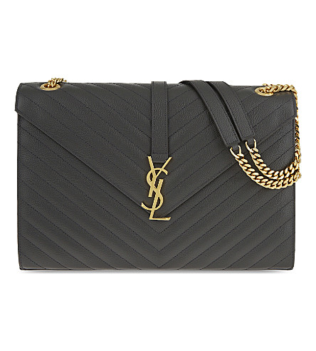 SAINT LAURENT Monogram leather satchel (Coal
