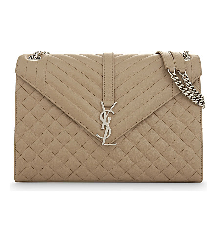 SAINT LAURENT Monogram large quilted leather satchel (Dark+beige+silver