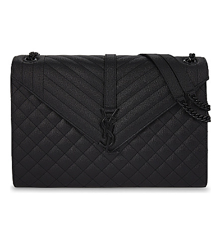 SAINT LAURENT Monogram large leather shoulder bag (Black+black+hw