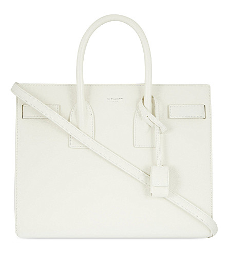 SAINT LAURENT Sac de Jour small leather tote (White