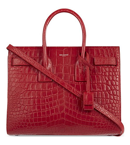SAINT LAURENT Mock-croc leather tote (Red