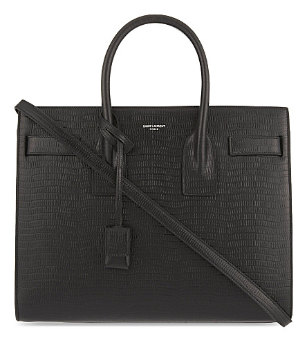 SAINT LAURENT Sac de Jour lizard-embossed leather tote (Black