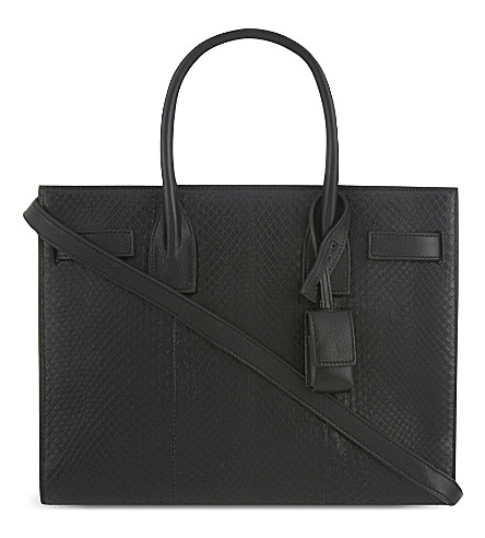SAINT LAURENT Baby Sac de Jour python leather tote (Black