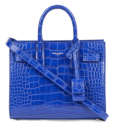 SAINT LAURENT Nano alligator-leather tote (Bleu+majorelle