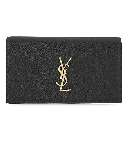 SAINT LAURENT Monogramme leather clutch (Black