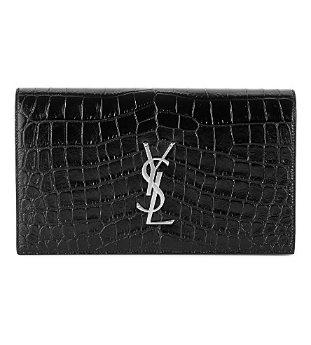 SAINT LAURENT Monogram croc-embossed leather clutch (Black