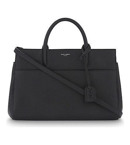SAINT LAURENT Cabas Rive Gauche small leather tote (Black