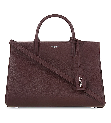 SAINT LAURENT Cabas Rive Gauche small leather tote (Bordeaux