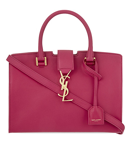 SAINT LAURENT Baby Cabas leather tote (Lipstick+pink