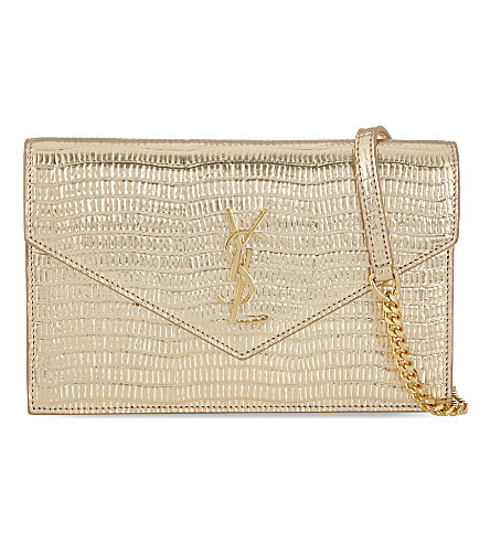 SAINT LAURENT Monogram envelope chain wallet (Gold