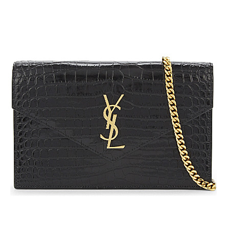 SAINT LAURENT Monogram crocodile-embossed leather wallet on chain (Black gold hw