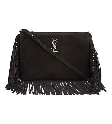 SAINT LAURENT Monogram fringed suede cross-body bag (Black