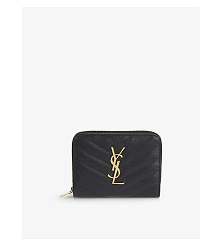 SAINT LAURENT Monogram small leather purse (Black