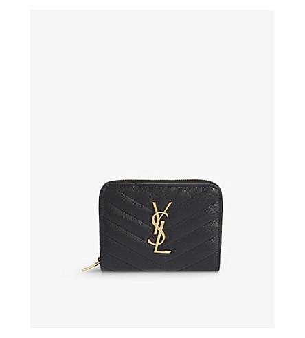 SAINT LAURENT Monogram small leather wallet (Black