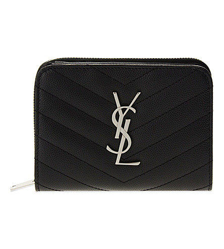 SAINT LAURENT Monogram quilted leather purse (Black