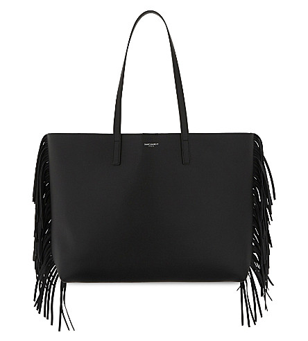 SAINT LAURENT Large fringed leather tote (Black