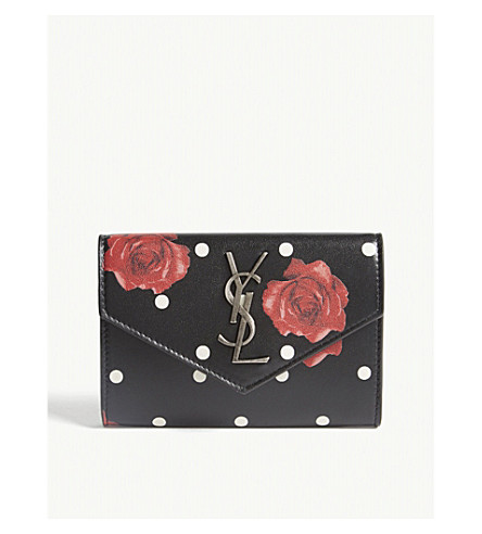 SAINT LAURENT Monogram floral leather envelope wallet (Black/red