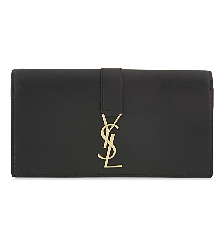 SAINT LAURENT Logo flap leather wallet (Black