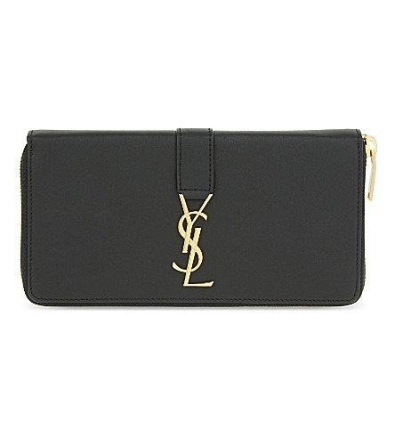 SAINT LAURENT Monogram leather zip-around wallet (Black+gold+hardware