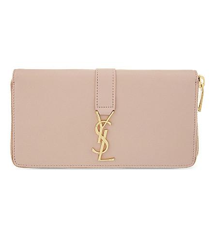 SAINT LAURENT Monogram leather zip-around wallet (Pale blush