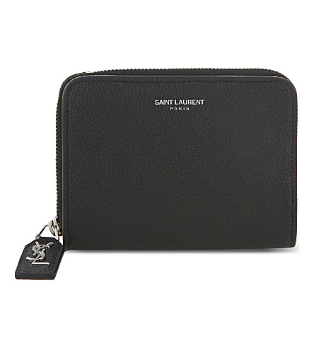 SAINT LAURENT Rive gauche small leather purse (Black