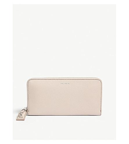 SAINT LAURENT Rive Gauche leather zip-around wallet (Marble+pink