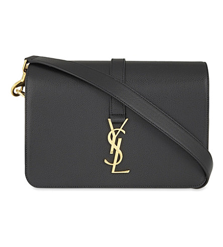 SAINT LAURENT Monogram Université leather shoulder bag (Black