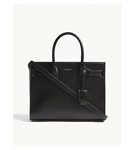 SAINT LAURENT Classic bi-colour grained leather Baby Sac de Jour shoulder bag (Black/white