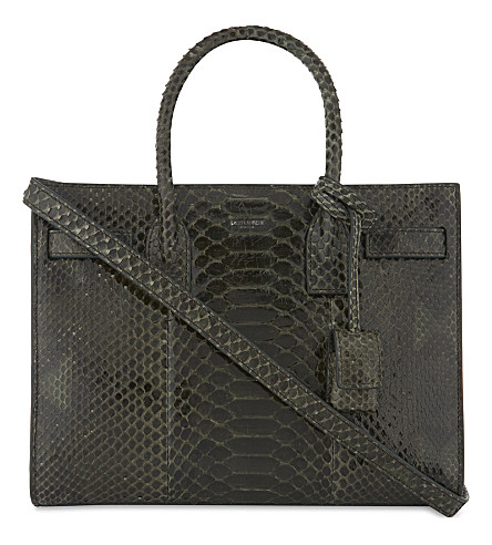 SAINT LAURENT Sac de Jour baby python leather tote (Noir+dark+leaf