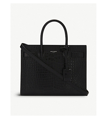 SAINT LAURENT Sac de Jour croc-embossed leather tote bag (Black