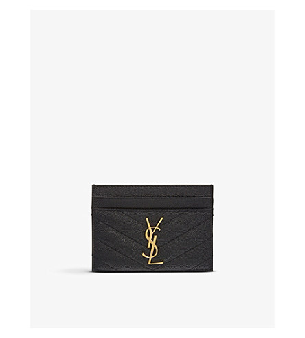 saint laurent monogram quilted leather card holder selfridges com