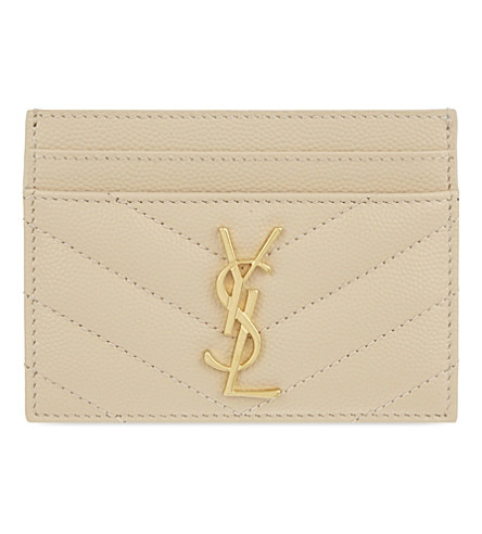 SAINT LAURENT Monogram quilted leather card holder (Poudre gold