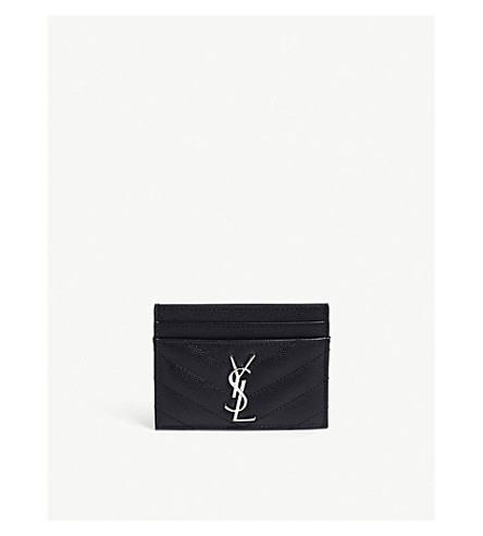 SAINT LAURENT Monogram quilted pebbled leather card holder (Marine