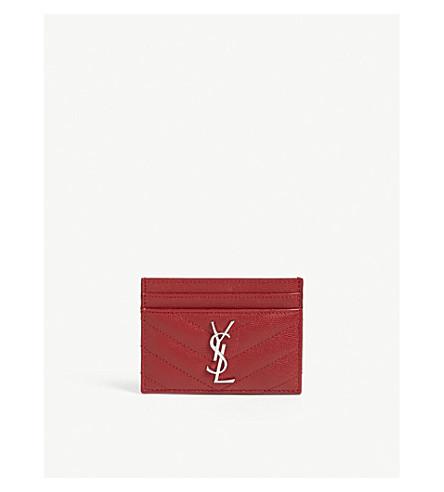 SAINT LAURENT Monogram quilted pebbled leather card holder (Rouge