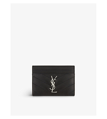 SAINT LAURENT Monogram quilted leather card holder (Black