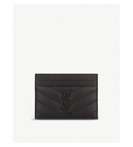 SAINT LAURENT Monogram leather card holder (Black