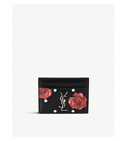 SAINT LAURENT Monogram quilted leather card holder (Black/red