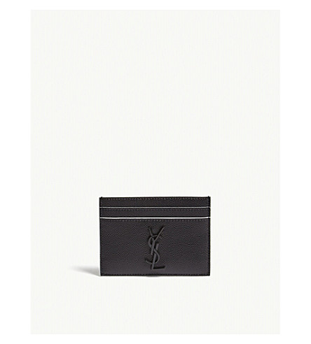 SAINT LAURENT Monogram pebbled leather card holder (Black/white