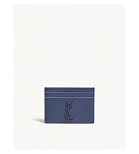 SAINT LAURENT Monogram pebbled leather card holder (Blue/white