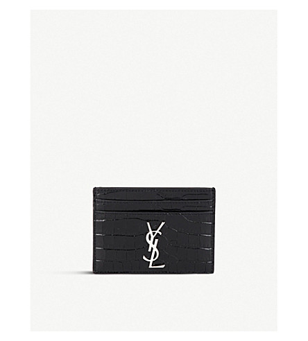 SAINT LAURENT Monogram crocodile-embossed leather cardholder (Black