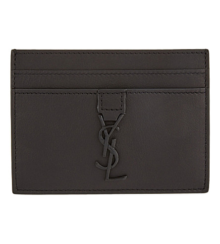 SAINT LAURENT Logo-detail leather card holder (Black