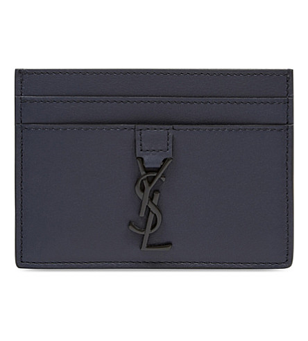 SAINT LAURENT Logo-detail leather card holder (Marine