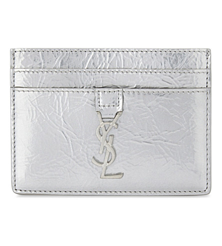 SAINT LAURENT Metallic leather card holder (Silver