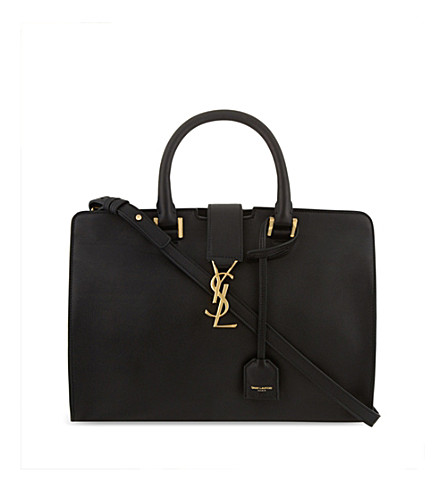 SAINT LAURENT Monogram Cabas small leather tote (Black