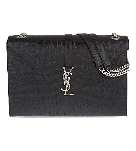SAINT LAURENT Monogram crocodile-embossed leather satchel (Black