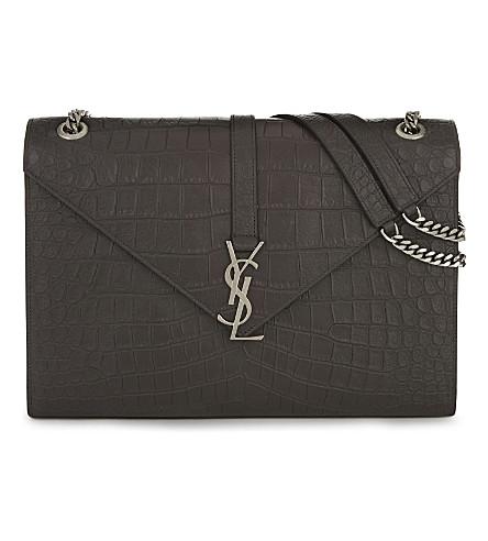 SAINT LAURENT Monogram crocodile-embossed leather satchel (Coal