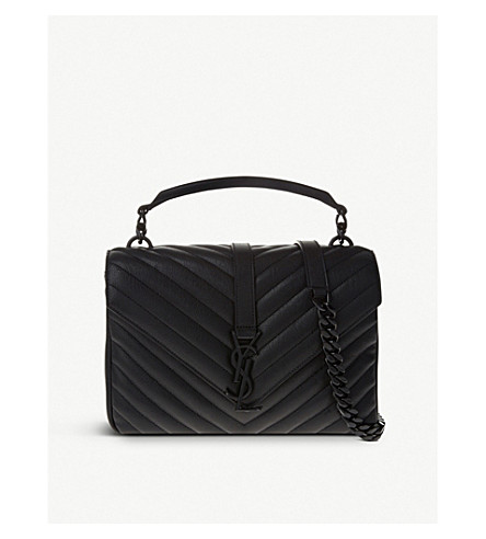 SAINT LAURENT Monogram Collège small quilted-leather satchel (Black+hardware