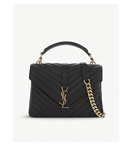 SAINT LAURENT Monogram collège small quilted leather satchel (Black+gold